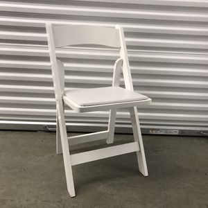 2 White Wooden Fold Out Chairs With Cushion for Sale in Portland, OR