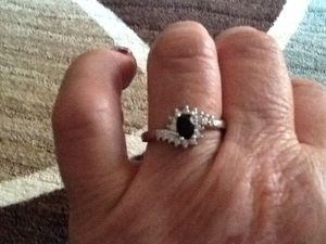 Black ring is a size9 the heart ring is a size8 for Sale in Bluefield, WV