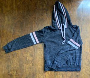 dark grey hoodie w pink and white stripes on sleeves for Sale in La Habra, CA