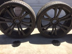 26 inch black coated rims and tires for Sale in South Gate, CA