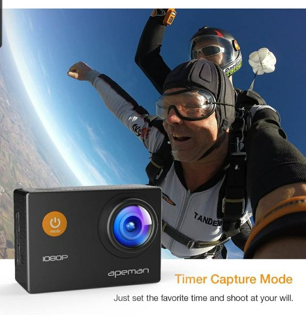 Sports Action Camera 1080P HD 12MP Waterproof Cam 170 Ultra Wide-Angle Lens With Mounting Accessories Kit for Cycling Swimming Climbing Diving