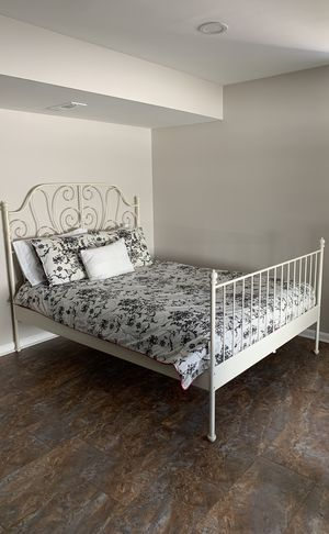 Ikea queen size bed frame, white LEIRVIK for Sale in Olney, MD