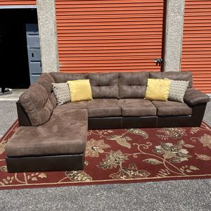Brown Genuine Leather Sectional, Delivery Available for Sale in Las Vegas, NV