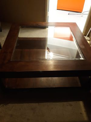 Large square wood and glass coffee table for Sale in Phoenix, AZ
