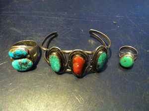 Bracelet and 2 Rings Native American Turquoise and Red Coral Jewelry for Sale in Jacksonville, FL