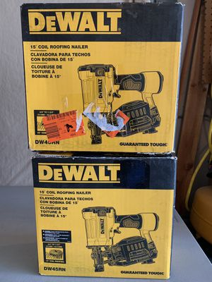 (2) DEWALT Pneumatic 15-Degree Coil Roofing Nailers - used IN BOX - sold together only - 2 for $160 for Sale in Spring, TX