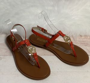 MICHAEL KORS Women's Brown Red T-Strap Thong Flat Sandals Leather Sz 9.5 for Sale in Honolulu, HI