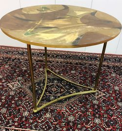 Mid Century Abstract Cast Resin and Brass Side Table for Sale in Boynton Beach,  FL
