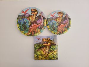 Set of Dinosaur Party Supplies Dessert Cake Paper Plates Napkins T-Rex Triceratops Science Geek Nerd Birthday Party for Sale in Las Vegas, NV