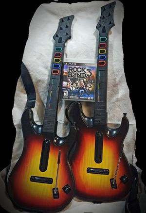 Rockband3 for PS3 with 2 guitars for Sale in Bismarck, ND