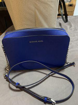 Authentic Michael Kors Square Lunchbox Style Blue YKK Zipper Strapped Purse Handbag for Sale in Haltom City, TX