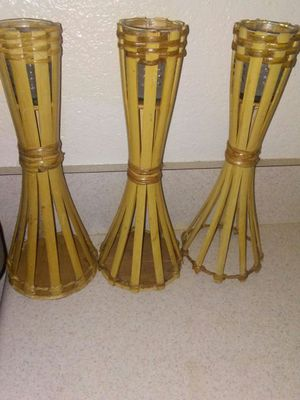 12 inch bamboo candle holders w/ white candles for Sale in Norfolk, VA