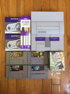 Super Nintendo Entertainment System Donkey Kong Trilogy + Super Mario World + New accessories PLEASE READ THE DESCRIPTION BEFORE MESSAGING ME for Sale in Chicago, IL