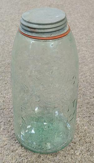 Antique Early 1900's 3-L Blie Mason Patent Nov 30th 1858 With Zinc Lid Porcelain In The Lid #J for Sale in Burlington, NC