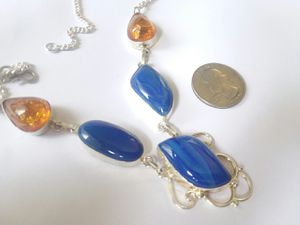 Women's necklace Agate gemstones with Amber and Sterling chain for Sale in Ocala, FL