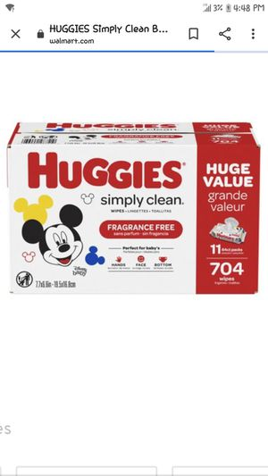 I have a box of 6 huggies wipes , i used one but my daughter was allergic ,tengo esta caja de huggies 6 packetes pero use una y mi hija la roso for Sale in Las Vegas, NV