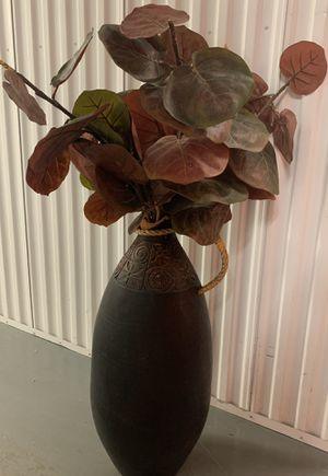 Pier 1 Rustic Pottery with Red and Green Plant - Unique! for Sale in Gilbert, AZ