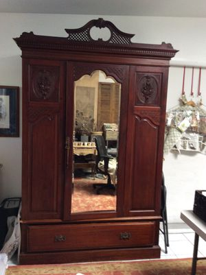 1900's Vintage Mirrored Armoire with Crown Antique with original Key and hardwares for Sale in Los Angeles, CA