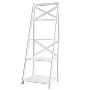 BRAND NEW!! 4-tier Leaning Free Standing Ladder Shelf Bookcase WHITE for Sale in Brea, CA