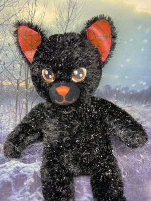 "Build a Bear Night Magic Cat 19"" plush toy. Sparkly soft fur stuffed animal, black Halloween cat plushie from bab workshop for Sale in Paramount, CA"