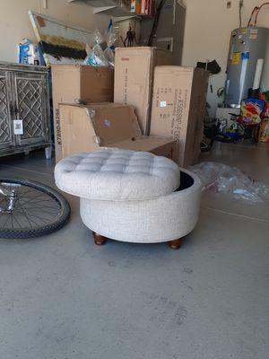 Homepop round storage tufted for Sale in Tolleson, AZ