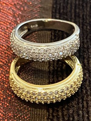 Stamped 925 Sterling Silver/ Yellow Gold plated Engagement Ring Matching Set— Unisex for Sale in Dallas, TX