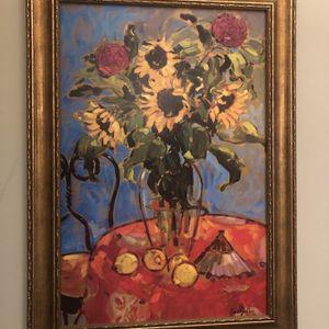 Large Framed Sunflower Painting for Sale in Suwanee, GA