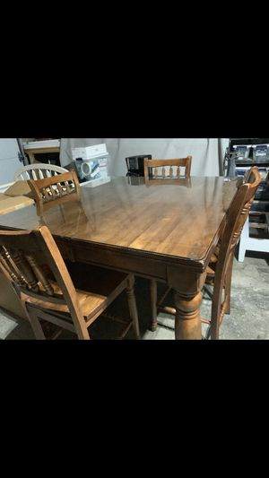 Wooden table with beveled glass for Sale in Reynoldsburg, OH