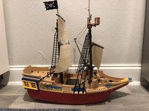 PLAYMOBIL 2007 Pirate Ship Boat Toy Boys - 24in L / 22H / 9W - Caribbean Figures Canon Marine Sailing ⛵️ 🏴☠️ AWESOME FUN for Sale in Tampa, FL