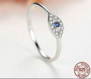 Sterling 925 Silver Blue Good Luck Eye Charm Stackable Ring for Sale in Wichita, KS