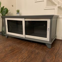Gray Wood And White Glass Doors Tv Stand for Sale in San Diego,  CA