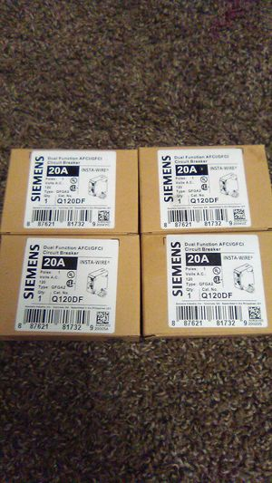 Siemens dual function AFCI/GFCI CIRCUIT BREAKER 20A Q120DF for Sale in Salt Lake City, UT