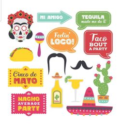 Fully Assembled Fiesta Photo Booth Props. 30 Piece Box Set of Mexican Fiesta, Taco Party Decorations Kit for Sale in Pembroke Pines,  FL