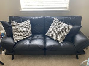 FREE!! Black Faux Leather Futon for Sale in Hillsboro, OR