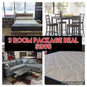 3 Room Package Deal - Queen Bedroom/ Sectional/ Table and Chairs - $1895 - $40 down take home today!! Up to 12 months SAC FINANCING AVAILABLE!!! for Sale in Virginia Beach, VA