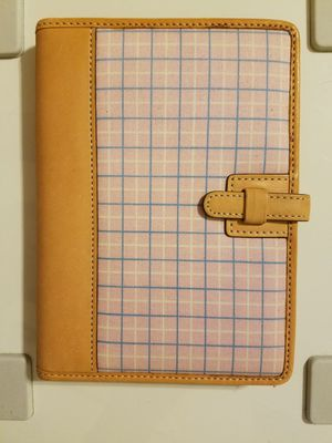 "RARE Authentic COACH Baby Light Pink Blue Plaid Small Photo Album Brag Book Canvas Leather Purse Wallet Size Fits 4x6"" Photos Prints for Sale for sale  Boston, MA"