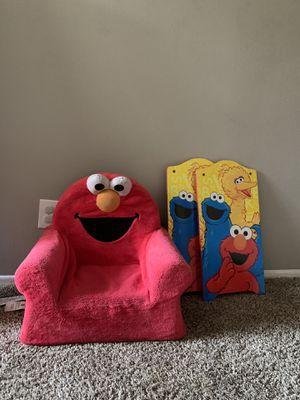 Kids Elmo chair + wooden Elmo decor for Sale in Riverside, CA