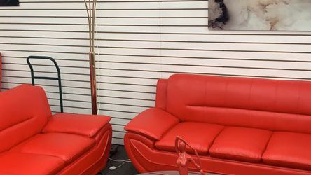 Sofa And Loveseat, Upholstered In Leather. Available In Red. for Sale in Miami,  FL
