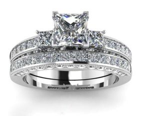 His size 10. Hers size 8 18K White Gold filled Wedding / Engagement ring Set (3pcs)New for Sale in Miami, FL