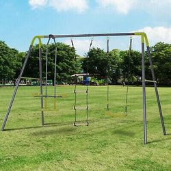 A-Frame Kids Metal Swing Set Swing Chair & Glide Set Climbing Ladder Outdoor Fun for Sale in Los Angeles, CA