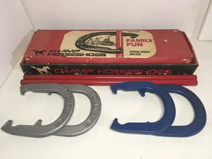 Set of 4 Vintage Champ Pitching Horseshoes Official Weight Size 4 Shoes 2 Stakes for Sale in Covina, CA