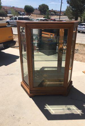 Oak Glass Display Cabinet for Sale in Hesperia, CA