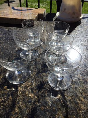 Antique Etched Desert Glasses-set of 6 for Sale in Westerville, OH