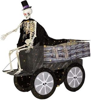 Home Accents Holiday 74 in. Halloween Coffin Carriage and Skeleton by Home Accents Holiday for Sale in Oxford, MA
