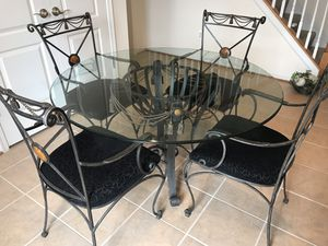 Iron & Glass Dining Room Table with 4 Chairs for Sale in Ashburn, VA