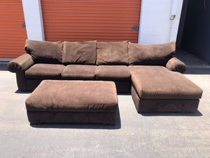 Brown Microfiber Sectional Couch w/storage ottoman -I can deliver for Sale in San Diego, CA