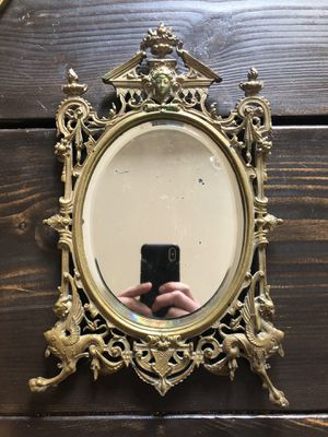 Antique Vintage French Nouveau Beveled Glass Mirror Brass Dragon Griffin Gryphon for Sale in Philadelphia, PA