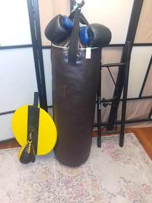 Professional Everlast boxing punching bag+ bar+ leather speed bag+ boxing gloves. for Sale in Queens, NY