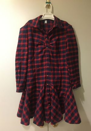 XXL Red-blue plaid button up dress for Sale in Loma Linda, CA
