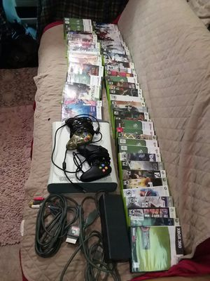 Xbox 360 60gb with 50 playable games,2 controllers and cords for Sale in Spencer, NY